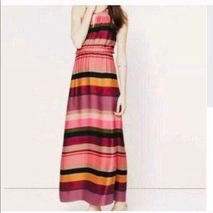 Loft multi color striped maxi dress
